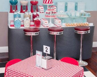 "RETRO Diner Printable Backdrop Artwork - Digital File - 6o""w x 40""h - You Print"