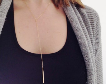 Gold Bar Lariat Necklace | Gold Y Necklace | Y Lariat Necklace | Simple Gold Bar | Hammered Bar Necklace | Simple Dainty Modern