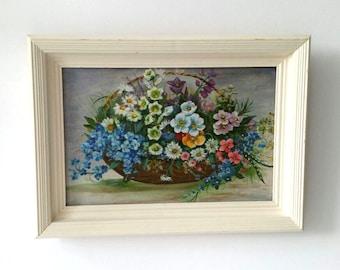 Antique wood framed oil painting 'flower basket' * vintage oil painting * flower basket * wood framed painting * wall decor