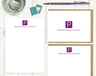 complete personalized stationery set - SQUARE MONOGRAM - personalized monogrammed stationary set - note cards - notepad - choose color