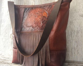 Leather Shoulder Bag - Freedom - with Vintage Hand Tooled Eagle   By Stacy Leigh