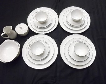 Vintage Noritake Whitebrook 6441, 4- 6 Piece Place Settings with Sugar and Creamer, 26 Pieces Total
