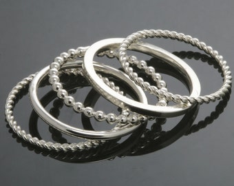 5 Stackable Rings. Skinny Rings. Sterling Silver. Mix & Match. Made to Order.