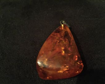 Vintage Amber Cognac Necklace Pendant