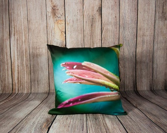 Gerbera Pillow Cover, Large Turquoise Sofa Cushion Case, Decorative Flower Accent, Floral Modern Home Design, Green and Pink Bedroom Decor