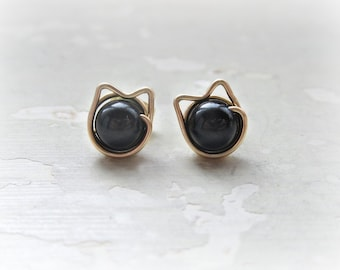 Black Cat Studs, Gold Post Earrings, Pet Lover Gift, Gold Cat Studs, Black Onyx Studs, Cat Jewelry, Cat Lover Gift, Cat Mom, Crazy Cat Lady