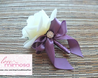 Men's Boutonniere, Off White Rose with Plum ribbon and rhinestone Boutonniere