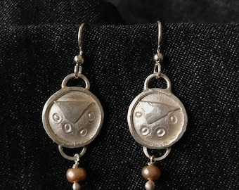 Fused and Formed Sterling Silver Earring with Blush Freshwater Pearl