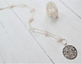 Merkaba star necklace, flower of life necklace, rose quartz, angel aura necklace, gemstone necklace, crystal necklace, boho necklace