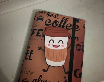 Pretty coffee cup sketchbooks, notebook. Latte, Cappuccino lovers.