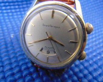 Mens Girard Perregaux Alarm Watch, 60's 18K Gold Capped and Stainless Steel, Runs.