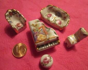 Small Limoges porcelain miniature Music Lounge