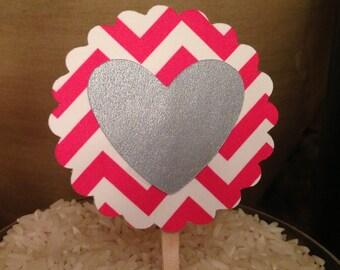 SALE!!! Chevron & Heart Cupcake Topper (Set of 15)