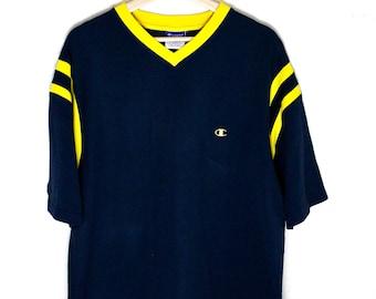 90s Vintage Champion Jersey T-Shirt Jersey Tee Soft V-Neck Shirt Vintage Jersey Dark Blue Yellow Size XL
