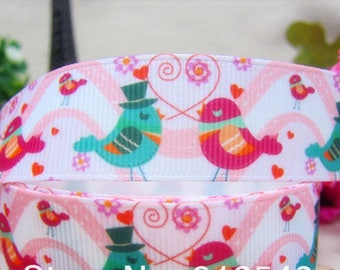 Ribbon grosgrain Ribbon 25mm heart love bird sold by the red rose green animal meter