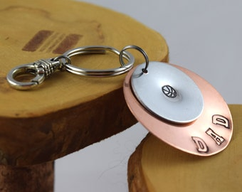 Basketball Dad sports fan hand stamped keyfob keyring keychain Makes a GREAT Father's Day gift