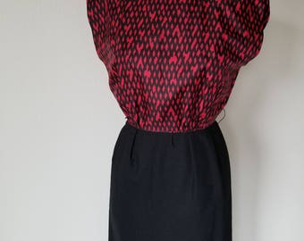 Vintage 1960's Wiggle Dress in Black and Red