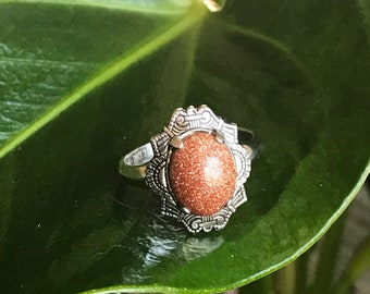 Sterling Silver Goldstone Ring - Size 6