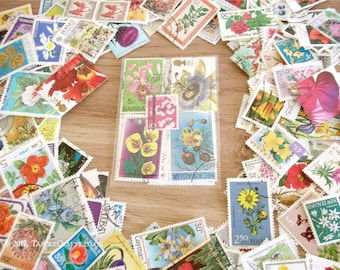 Flowers postal stamp packet | 20 mixed floral stamps, flower thematic postal stamps, modern + vintage | upcycle, decoupage, card toppers