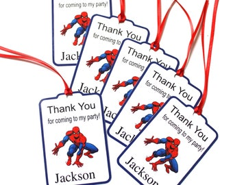 Spiderman Thank You Party Favor Tags, Spiderman Personalized Birthday Party Favors Tags Thank You Gift Tags, Super Hero Party Supplies