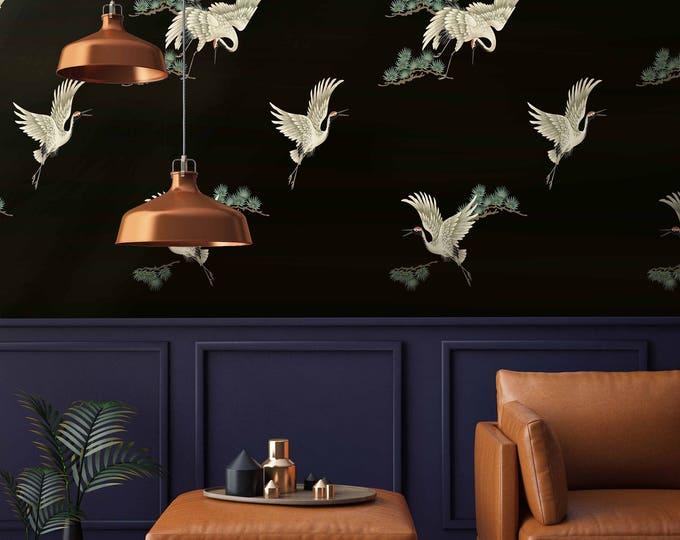 Heron Wallpaper, Chinoiserie Wall art, Chinoiserie, Herons, Bird wallpaper, wall decor, vintage wallpaper, oriental wallpaper, Japanese