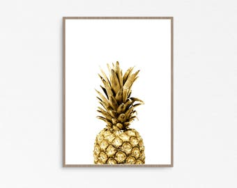 Pineapple decor, Pineapple print, Digital Pineapple, Pineapple wall art, Gold Pineapple, Gold Print, Tropical Fruit, Pineapple art, tropical