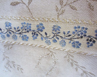 Fabric Blue Flowers Striped Upholstery Drapery Bedspread Curtain