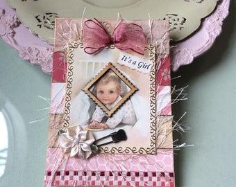 Vintage-style Baby Girl Card - Handmade New Baby Girl Card