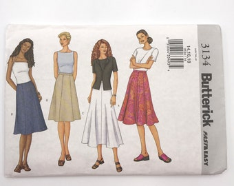 Butterick 3134 Womens A Line or Flared Skirt Size 14 16 18 Uncut Sewing Pattern