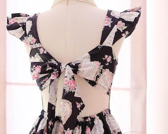 Black floral bridesmaid dress floral dress black party dress bow back dress black party prom dress black dress tea dress