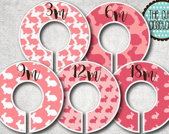 Baby Closet Dividers  - Pink Bunny- Clothes Organizers Nursery Decor Baby Shower Gift - Pink Magenta White Rose