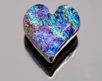 Dichroic Cabochon, Dichroic Heart, Small Glass Heart, Fused Glass Heart, Small Heart Cabochon, Blue, Purple & Magenta Cabochon