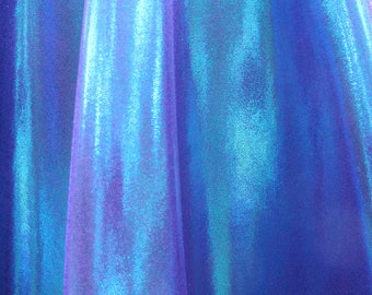 Lycra Fabric Spandex Material - Turquoise-Purple Mystique metallic - 27  X 58 inches wide (3/4 yd.) - 4 way stretch