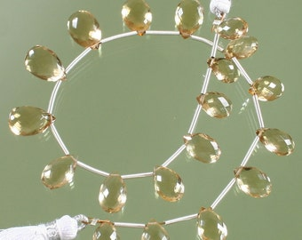 AAA Champagne Citrine Faceted Pear Briolettes