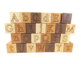 26 Alphabet Building Blocks Natural & Organic -Wooden Toy Blocks