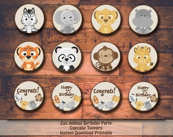Zoo Animal Birthday Party Printable Cupcake Toppers