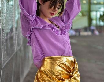 J'ai la jupe droite sentir vous métal cuir doré