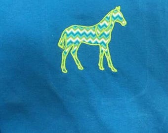 Adult T-Shirt with appliquéd/ embroidered horse