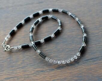 Hematite Necklace, Boho Glam Gemstone Necklace, Crystal Necklace, Edgy Necklace, Womens Swarovski Necklace, Beaded Statement Necklace