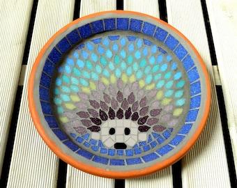 Rainbow Hedgehog Mosaic Garden Bird Bath Yard Decoration Ornament Water Dish Saucer