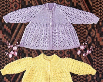 """baby lacy matinee coats baby knitting pattern pdf download baby matinee jackets lacy cardigans coats chevron 19"""" DK light worsted 8 ply"""