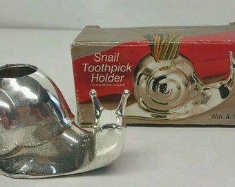 Silverplated Snail Toothpick Holder in Original Box By Wm.A.Rogers Made in Japan