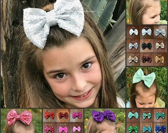 Hair bows, 5 inch bows, sequin bows, 30 colors, hair bows for babies, baby bows, clip on baby girl headband, hair bows for girls, pink bow