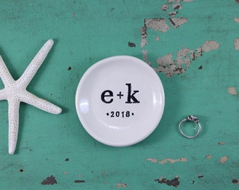 Initials and Date on Round Dish, Engagement Ring Dish with Personalization, Custom Jewelry Dish with Initials and Date