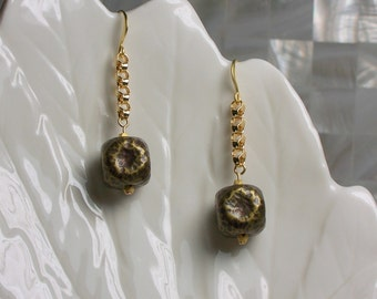 Earrings Dangle Drop Antiqued Bronze Metal Cubes Gold Chain Fashion Jewelry Gift Ideas Jewellery Casual Wear Textured