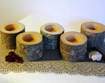 20 wood tealight holder, Log candle holder, Rustic candle holder, Wood candle holder, Rustic home decor, Rustic wedding decor, Woodland baby
