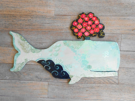 Amandine Whale Wooden Wall Sculpture by Kimberly Hodges whale wood art wood whale decor whale art for baby nautical nursery wooden whale art