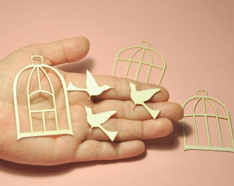 Chipborad Die Cut SET OF 12. Cages and hummingbirds #1457