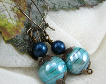 Petrol Blue Earrings ~ Swarovski Pearl Earrings ~ Blue Bead Earrings ~ Petrol Pearl Earrings ~ Swarovski Earrings ~ Kidney Wire Earrings