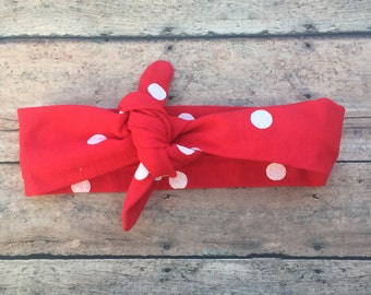 Red Tie Knot - Tie knot headband - top knot headband - baby girl headband - one size - knot headband - polka dot headband - red headband